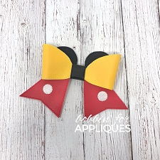 Mr Mouse inspired Cheer Bow BIG BOW project ITH